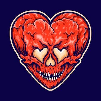 ひびの入ったハートの愛の頭蓋骨のイラスト