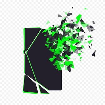 금이 간 전화 화면은 투명한 바에서 폭발로 인해 깨진 스마트 폰이 조각으로 산산조각이 ...