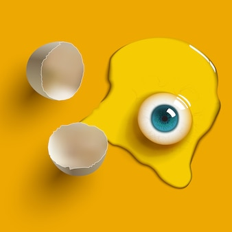 Cracked raw egg with eye