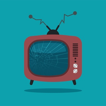 ひびの入った画面のレトロなテレビ。青い背景に分離された曲がったアンテナと壊れた漫画のテレビ。