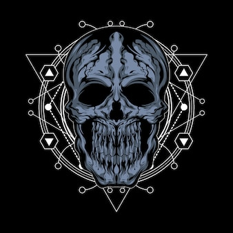 Cracked skull illustration with sacred geometry