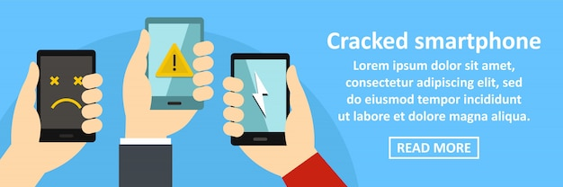 Cracked smartphone banner template horizontal concept