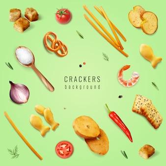 Крекеры и закуски с различными формами и вкусовыми добавками на зеленом фоне реалистичной иллюстрации