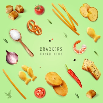 Crackers and snacks with different forms and flavoring additives on green background realistic  illustration