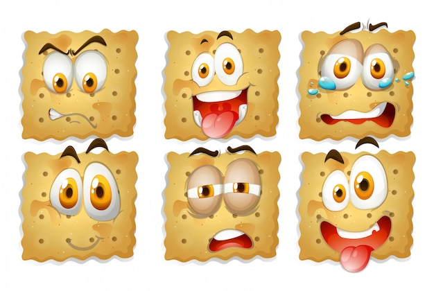 Crackers with facial expressions