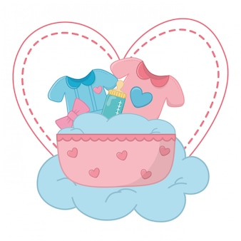 Cradle with baby clothes illustration