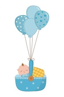 Cradle with baby sleeping illustration