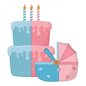Cradle with birthday cake illustration