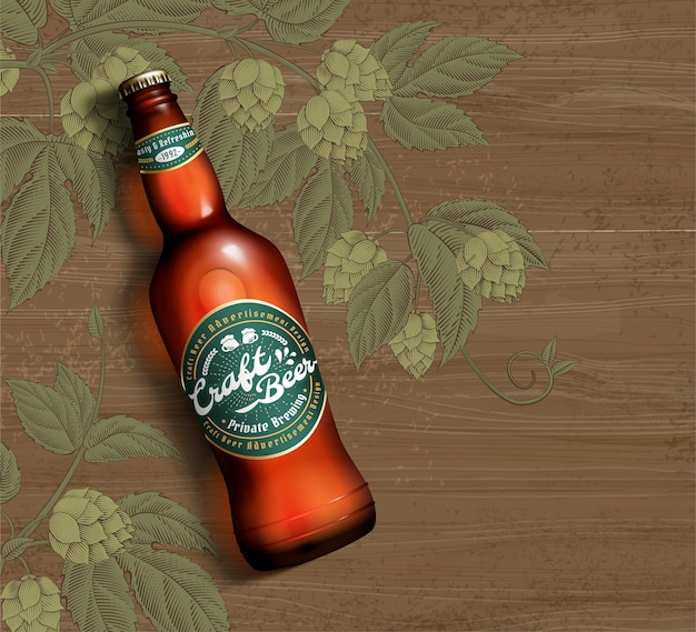 Craft beer in 3d illustration on engraved hops flower and wood table background