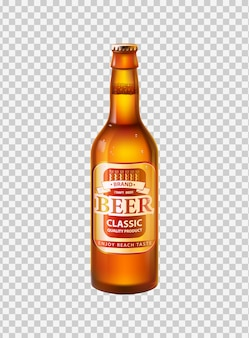 Craft beer in bottle with cap realistic 3d