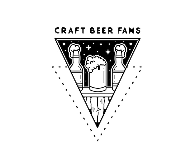 Craft beer fans drinking alcohol monoline drawing badge