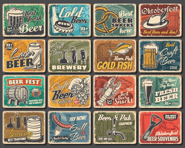 Craft beer festival, brewery and snacks tin signs. beer brewing and pub equipment