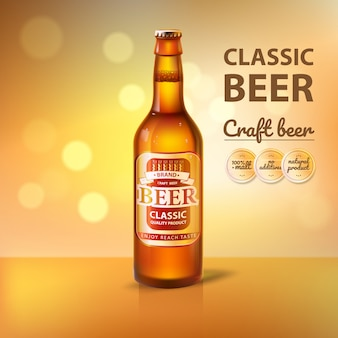 Craft beer in glass bottle promo of brewery