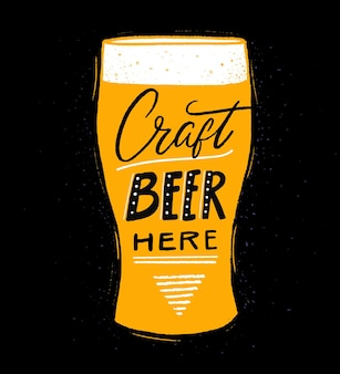 Craft beer here pub or brewery poster with hand lettering and pink glass illustration on black
