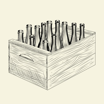 Craft пиво в деревянной коробке. коробка с бутылкой алкоголя. яблочный сидр в ящике