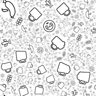 クラフトビールの線形シームレスパターン。醸造所、オクトーバーフェストの背景。テキスタイル、包装紙のデザイン