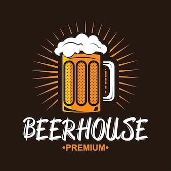 Craft beer logo. vintage label for brew house or pub