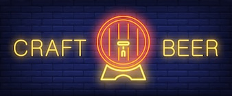 Craft beer neon style banner