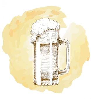 Craft beer object hand drawn vector sketch