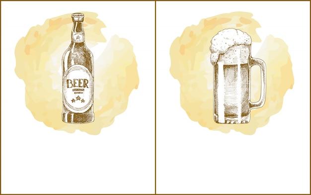 Craft beer objects набор рисованной эскизы