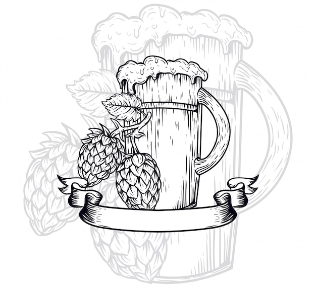 Craft beer outline illustration