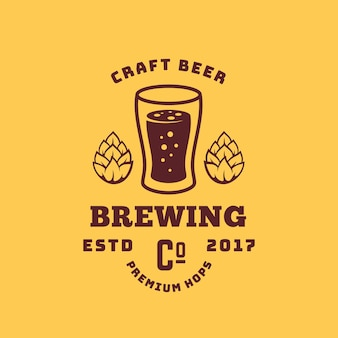Craft beer premium hops abstract retro symbol or logo