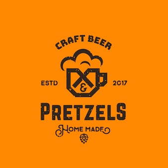 Craft beer and pretzels abstract  retro logo