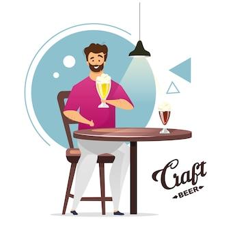 クラフトビール生産カラーイラスト。地ビール。小さな醸造所。自家醸造。テーブルでビールのパイントを持つ男。バー、パブの男。白い背景の上の漫画のキャラクター