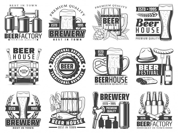 Craft beer pub, bar and brewing factory icons