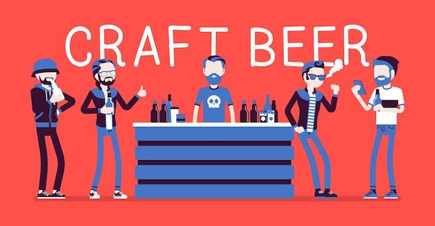 Craft beer store bar male visitors illustration