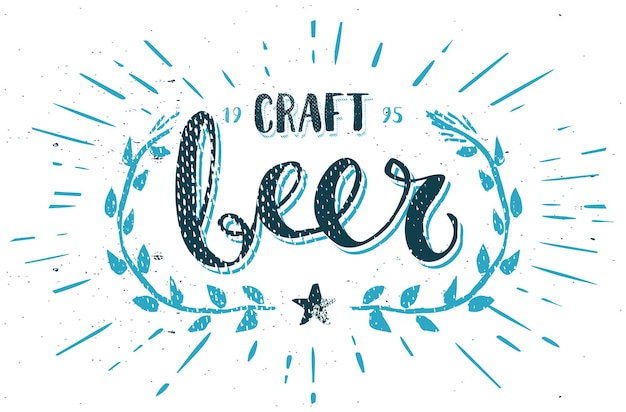 Craft beer template hand drawn calligraphy pen brush vector