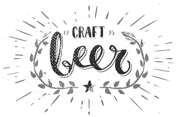 Craft beer template hand drawn calligraphy pen brush