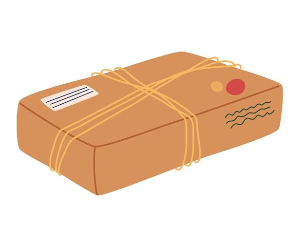 밧줄이 있는 공예품 상자 패키지. 종이 용기, 상자. 우편 패키지. 플라스틱이 아니라 지구를 구하십시오.