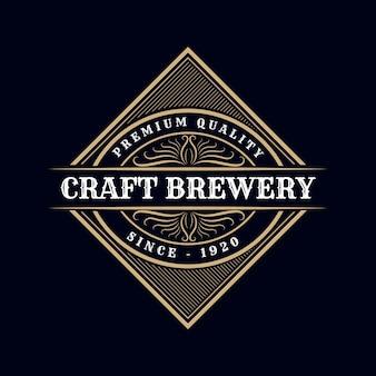 Craft brewery. antique retro luxury victorian calligraphic  logo