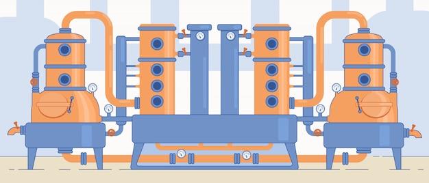 クラフトビール工場の設備と機械。