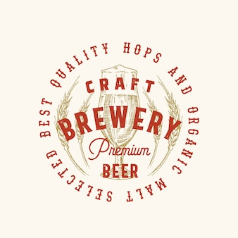 Craft brewery premium beer abstract  sign, symbol or logo template. hand drawn retro glass and wheat with classic typography. vintage beer emblem or label.