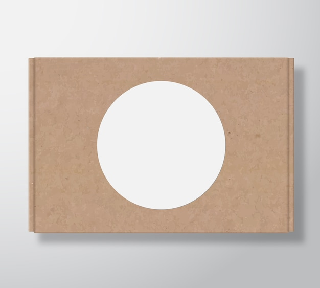 Craft cardboard box container with clear white round label template.
