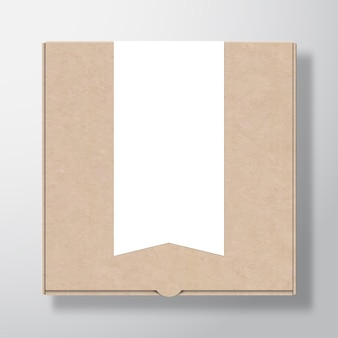 Craft cardboard pizza box container with clear white flag stripe banner label template