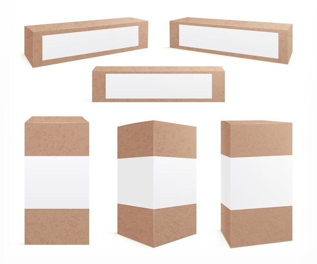 Сделайте картонные коробки. стоит коричневая стая. коробка для печенья, дизайн бумажной упаковки