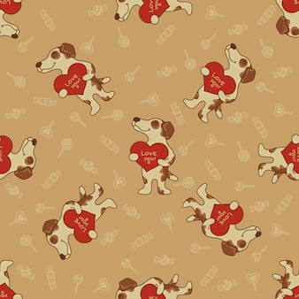 Craft doodle seamless pattern with dogs