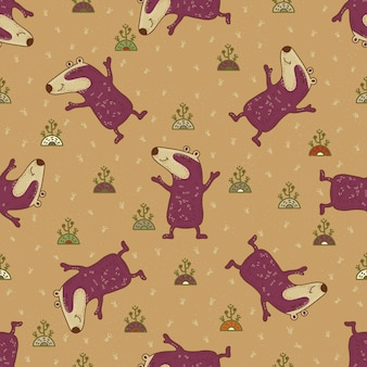 Craft doodle tribal seamless pattern with badgers.