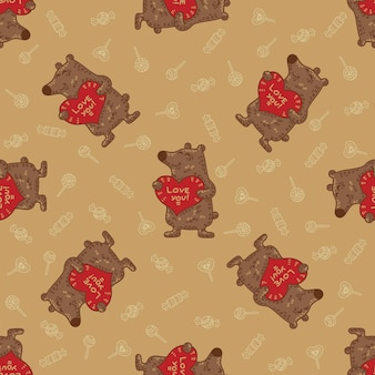 Craft doodle tribal seamless pattern with bears.