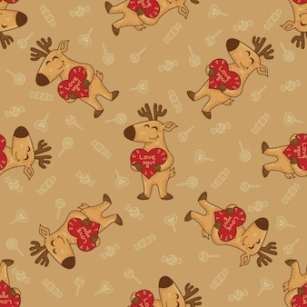 Craft doodle tribal seamless pattern with deers.