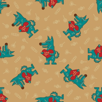 Craft doodle tribal seamless pattern with wolfs.