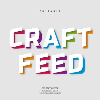 공예 피드 제목 다채로운 텍스트 효과 편집 가능한 프리미엄 프리미엄 벡터