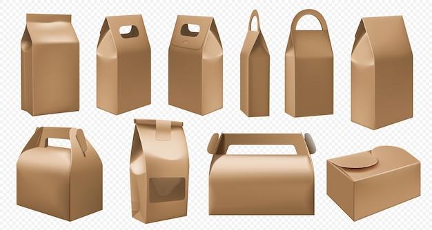 공예품 상자. 투명 한 배경에 골 판지 도시락 및 음식 팩. 테이크 아웃 패스트 푸드 컨테이너 세트. 패키지 템플릿을 가져 가십시오. 아침 식사를위한 빈 손잡이 판지 상자