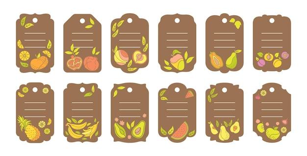 공예 라벨 베리와 과일 만화 세트 템플릿 스티커, 열대 가격표 과일, 파인애플 배 수박과 귤, 무화과, 레몬.