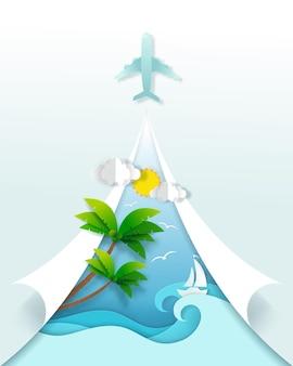 旅行バナーのクラフト、旅行の概念への時間。