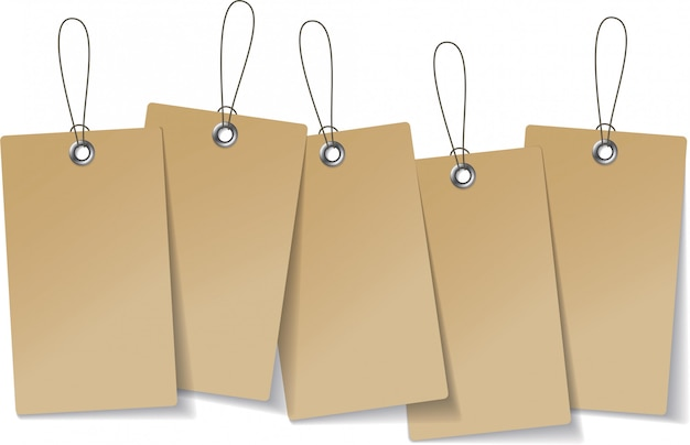 Craft organic price tags hanging together. retro style blank template shopping gift set