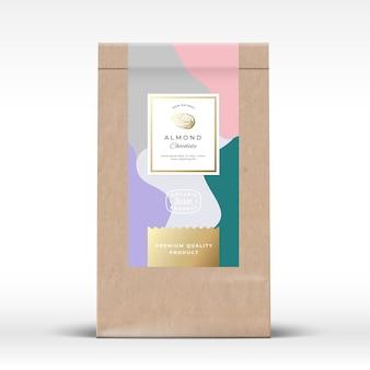 アーモンドチョコレート包装モックアップ付きクラフト紙袋